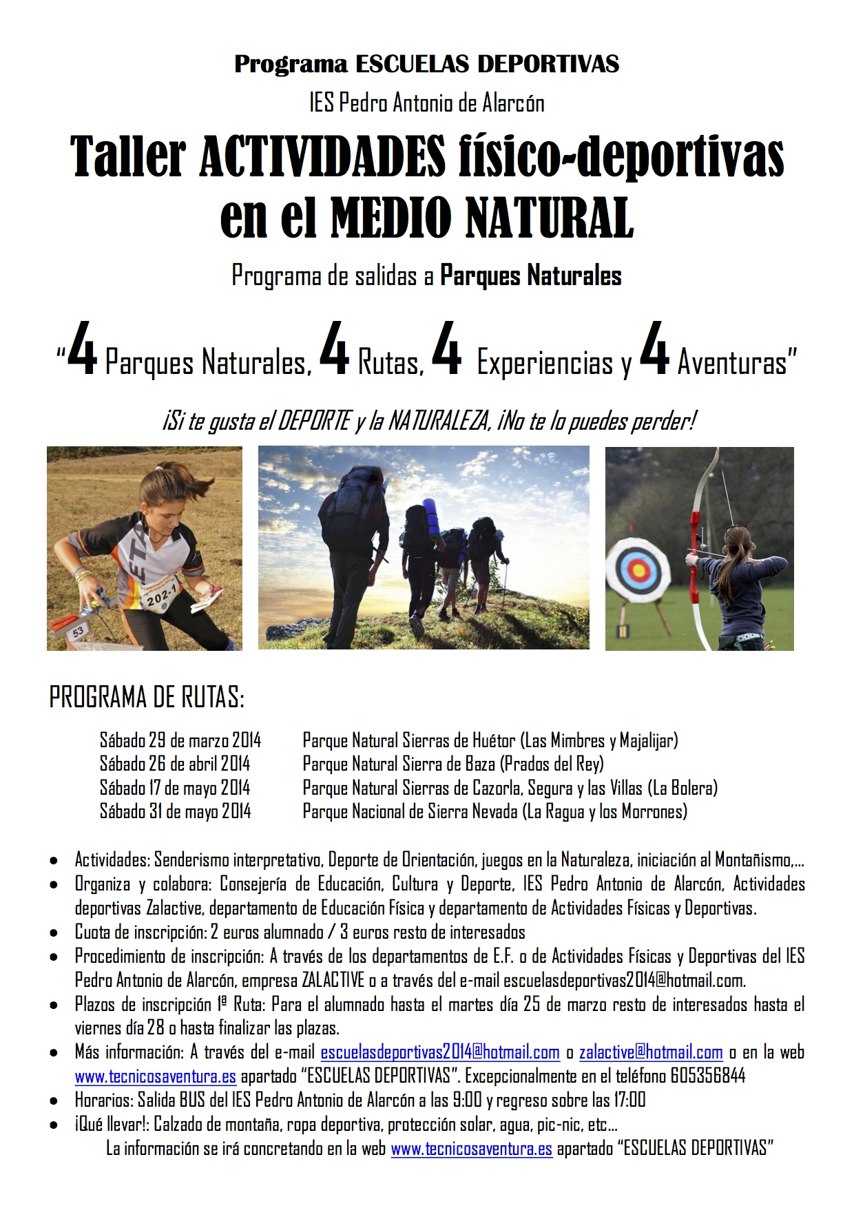 Cartel escuelas deportivas 2014